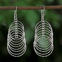 Sterling silver dangle earrings, 'Rippling Waves' - Sterling Silver Circle Motif Dangle Earrings from Thailand