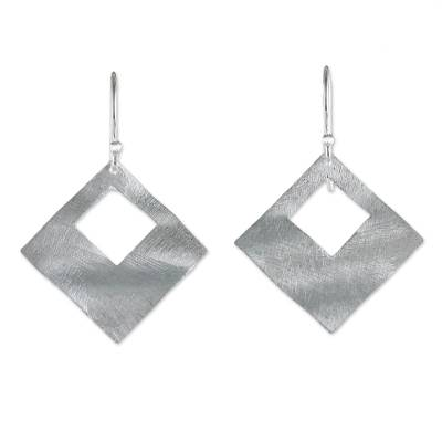 Sterling Silver Diamond Shaped Dangle Earrings from Thailand