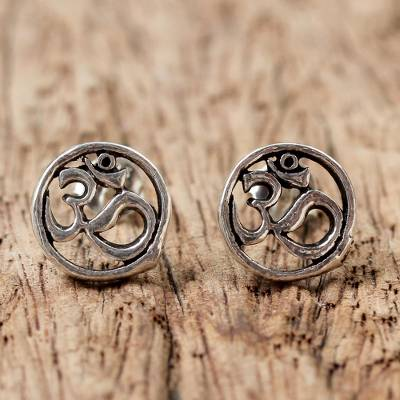 Sterling silver stud earrings, 'Om Harmony' - Sterling Silver Circular Om Stud Earrings from Thailand