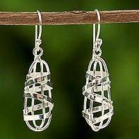Sterling silver dangle earrings, 'Shining Ribbons' - Sterling Silver Wire Motif Dangle Earrings from Thailand