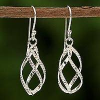 Sterling silver dangle earrings, 'Elegant Helix' - Sterling Silver Helix Dangle Earrings from Thailand