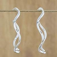 Sterling Silver Half-hoop Earrings Shining Curls (thailand)