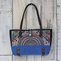 Leather accent cotton blend shoulder bag, 'Rainbow Sunrise in Royal Blue' - Leather Accent Cotton Blend Shoulder Bag in Royal Blue