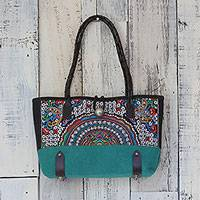 Leather accent cotton blend shoulder bag, 'Rainbow Sunrise in Emerald' - Leather Accent Cotton Blend Thai Shoulder Bag in Emerald