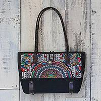 Leather accent cotton blend shoulder bag, 'Rainbow Sunrise' - Leather Accent Cotton Blend Embroidered Thai Shoulder Bag