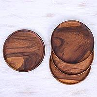 Wood plates, 'Natural Discs' (set of 4) - 4 Natural Wood Round 10