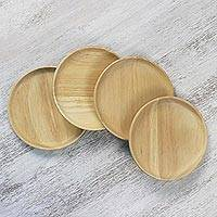 Wood dessert plates, 'Sweet Party' (set of 4) - Four Rubberwood Dessert or Party Plates from Thailand