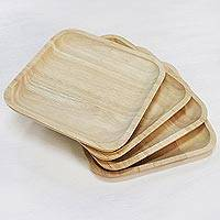 Wood plates, 'Natural Squares' (set of 4) - 4 Artisan Crafted Wood Square Plates Hand Carved in Thailand
