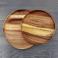 Wood plates, 'Planetary Meal' (pair) - Two Handcrafted Raintree Wood Plates from Thailand