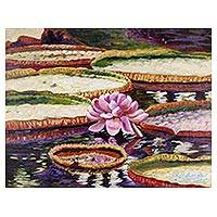 'Royal Victoria Water Lily' - Original Thai Painting of the Royal Victoria Water Lily