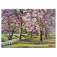 'Pink Trumpet Tree Blooming' - Norther Thailand Flowering Trees Original Signed Painting