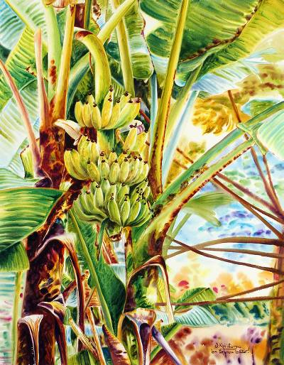 'Thai Banana' - Signed Watercolor Realist Painting of Banana Trees