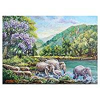 'Cool Summer' - Signed Thai Impressionist Painting of Elephants in River