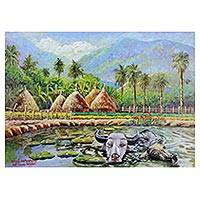 'Relaxing' - Signed Impressionist Painting of Water Buffalo and Landscape