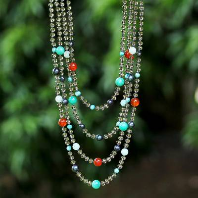 Gemstone beaded necklace, 'Changing Seasons' - Beaded Gem Necklace with Cultured Pearls