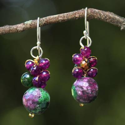 Quartz beaded earrings, 'Luscious Fruit' - Quartz Beaded Earrings with Sterling Silver Hooks