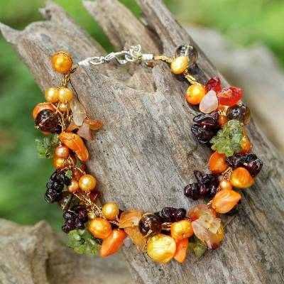 Multi-gemstone beaded bracelet, Fruits of Summer