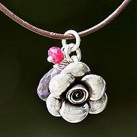 Amethyst and ruby pendant necklace, 'Rose of Sharon' - Pendant Choker with Silver Flower and Amethyst