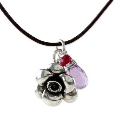 Pendant Choker with Silver Flower and Amethyst