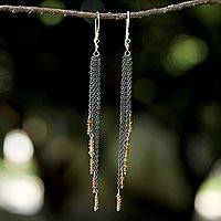 Tourmaline waterfall earrings, 'On the Fringe' - Yellow Tourmaline Waterfall Earrings with Silver Chains