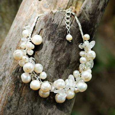 Cultured pearl beaded bracelet, 'Pure Snow' - Bracelet with White Cultured Freshwater Pearls