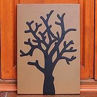 Wood wall panel, 'Bare Tree' - Hand Crafted Wood Decor Panel of a Tree in Black and Brown