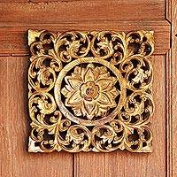 Teakwood relief panel, 'Lotus Star' - Hand Carved Teakwood Wall Relief Panel with Thai Lotus Art