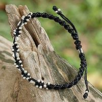 Silver macrame bracelet,