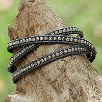 Silver wrap bracelet, 'Karen Rain' - Karen Silver and Leather Wrap Bracelet from Thailand