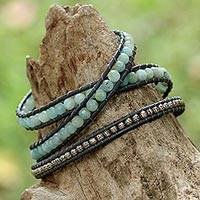 Amazonite wrap bracelet, 'Karen Droplets' - Blue Amazonite and Karen Silver Wrap Bracelet from Thailand
