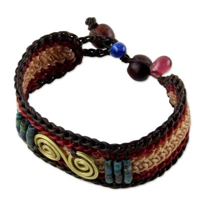 Brass and Reconstituted Turquoise Braided Wristband Bracelet
