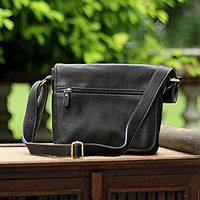Leather shoulder bag, 'Sleek Professional' - Adjustable Leather Shoulder Bag in Black from Thailand