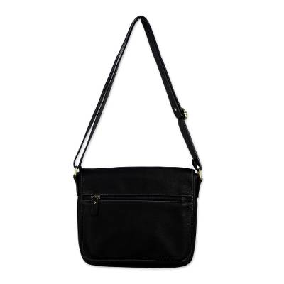 Adjustable Leather Shoulder Bag in Black from Thailand