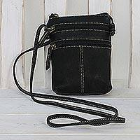 Small leather sling, 'Handy Companion' - Handcrafted Small Leather Sling Handbag from Thailand