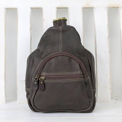 Leather backpack, 'Cool Traveler' - Handcrafted Leather Backpack in Espresso from Thailand