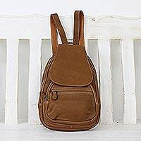 Leather backpack, 'Fun Traveler' - Handcrafted Leather Backpack in Chestnut from Thailand