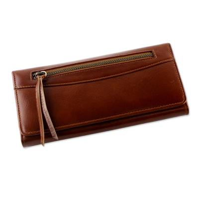 Handcrafted Leather Clutch in Rust from Thailand