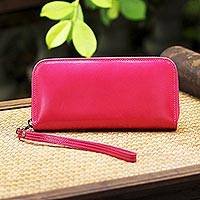 Leather wristlet, 'Cerise Love' - Handcrafted Leather Wristlet in Cerise from Thailand