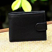 Leather wallet, 'Everyday Traveler in Coal' - Handcrafted Leather Wallet in Coal Black from Thailand