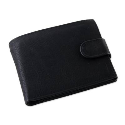 Handcrafted Leather Wallet in Coal Black from Thailand