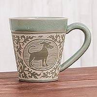 Celadon ceramic mug, 'Thai Zodiac Dog' - Celadon Glazed Ceramic Mug with Dog from Thailand