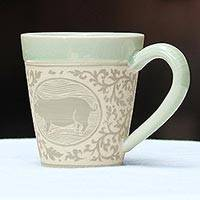 Celadon ceramic mug, 'Thai Zodiac Pig' - Celadon Glazed Ceramic Mug with Pig from Thailand