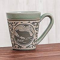 Celadon ceramic mug, 'Thai Zodiac Rat' - Celadon Glazed Ceramic Mug with Rat from Thailand