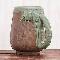 Celadon ceramic mug, 'Morning Elephant' - Ceramic Celadon Thai Elephant Mug in Green and Brown