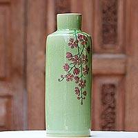 Celadon ceramic vase, 'Around the Garden' - Hand Crafted Celadon Ceramic Floral Vase from Thailand