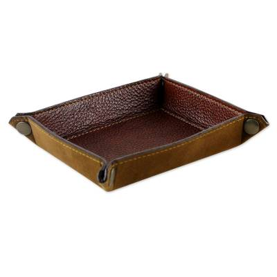 Handcrafted Thai Leather Catchall in Russet and Ginger