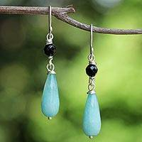 Quartz and onyx dangle earrings, 'Mountain Rain' - Onyx and Blue Quartz Dangle Earrings from Thailand