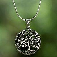 Sterling silver pendant necklace, 'Tree of Spirals' - Sterling Silver Circular Tree Pendant Necklace from Thailand
