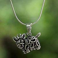 Sterling silver pendant necklace, 'Blissful Cow' - Artisan Crafted Sterling Silver Thai Cow Pendant Necklace