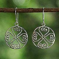 Sterling silver dangle earrings, 'Clovers of Love' - Sterling Silver Spiral Heart Dangle Earrings from Thailand